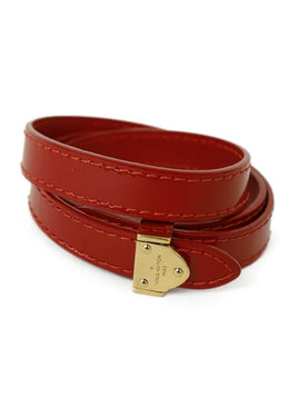 Louis Vuitton Red Patent Gold Metal Jewelry Bracelet 2