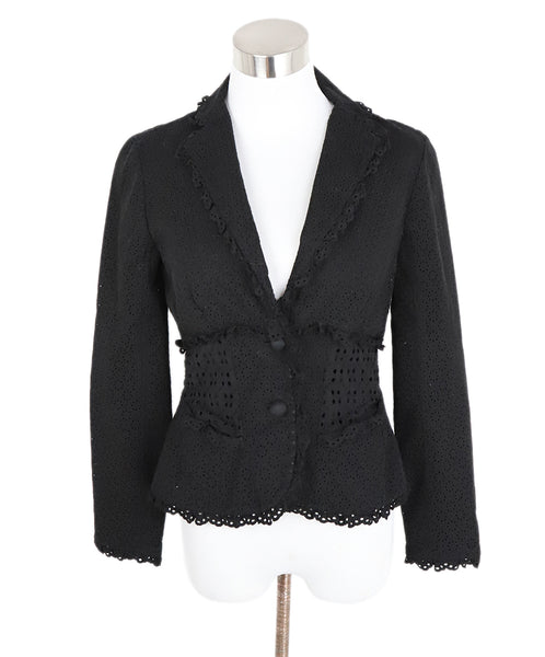 Louis Vuitton Black Cotton Eyelet Jacket 1