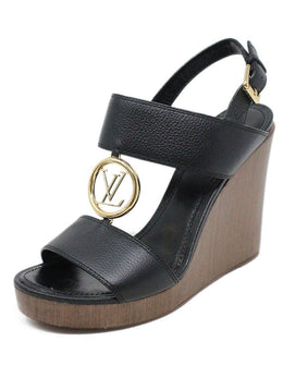 Sandals Shoe Louis Vuitton Black Leather Gold Hardware Wedge Shoes 1