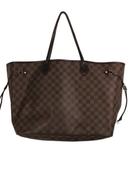 "Tote Louis Vuitton Brown Check Canvas ""as is"" Handbag 2"