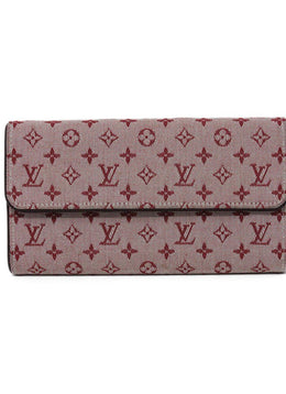Wallet Louis Vuitton Red Burgundy Canvas Leather W/Dust Bag Leather Goods 1