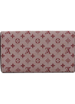 Wallet Louis Vuitton Red Burgundy Canvas Leather W/Dust Bag Leather Goods 2