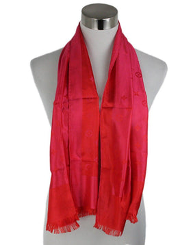 Louis Vuitton Red Fuchsia Monogram Silk Scarf 1