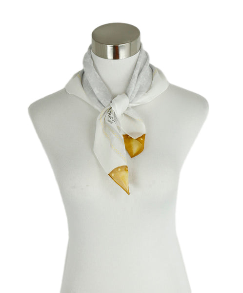 Louis Vuitton Pocket Square White Gold Cotton Scarf 1