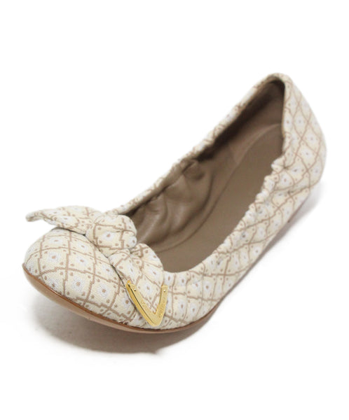 Louis vuitton white tan cotton flats 1