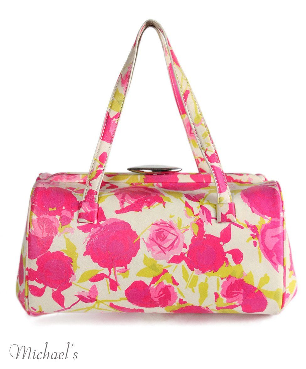 Lulu Guinness Pink Floral Leather Yellow Handbag