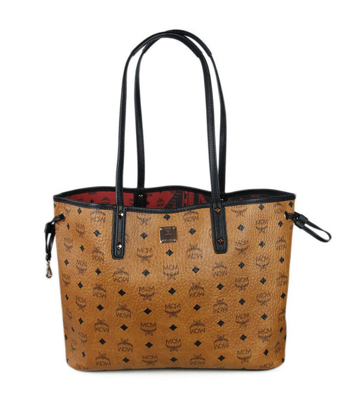 Mcm Brown Black Canvas Leather Handbag