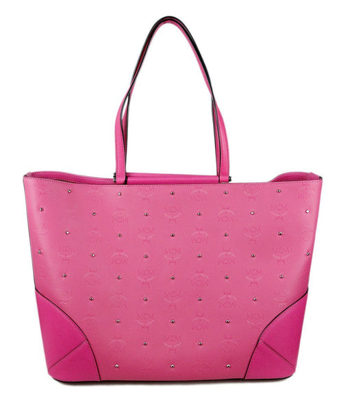 Mcm Hot Pink Studs Canvas Handbag