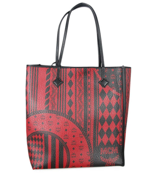 MCM Red Black Leather and Canvas Handbag