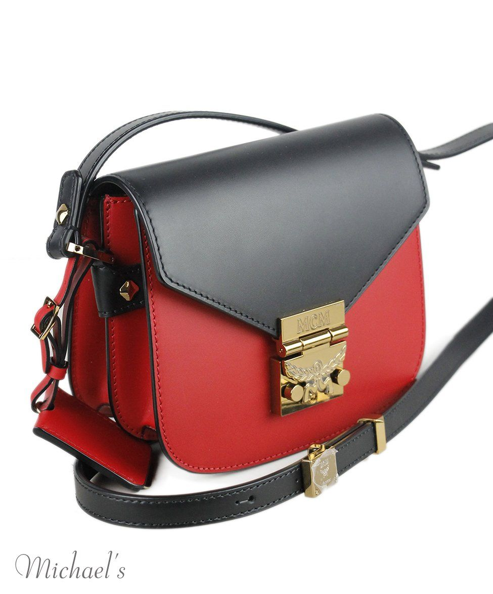 Mcm Red Black Leather Handbag
