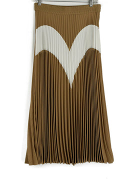 Msgm Tan Pleated Long Skirt 1