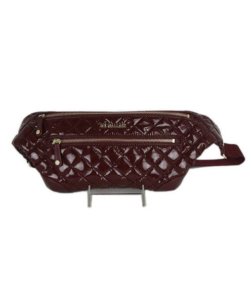 Mz Wallace Red Burgundy Quilted Patent Fannypack Handbag 1
