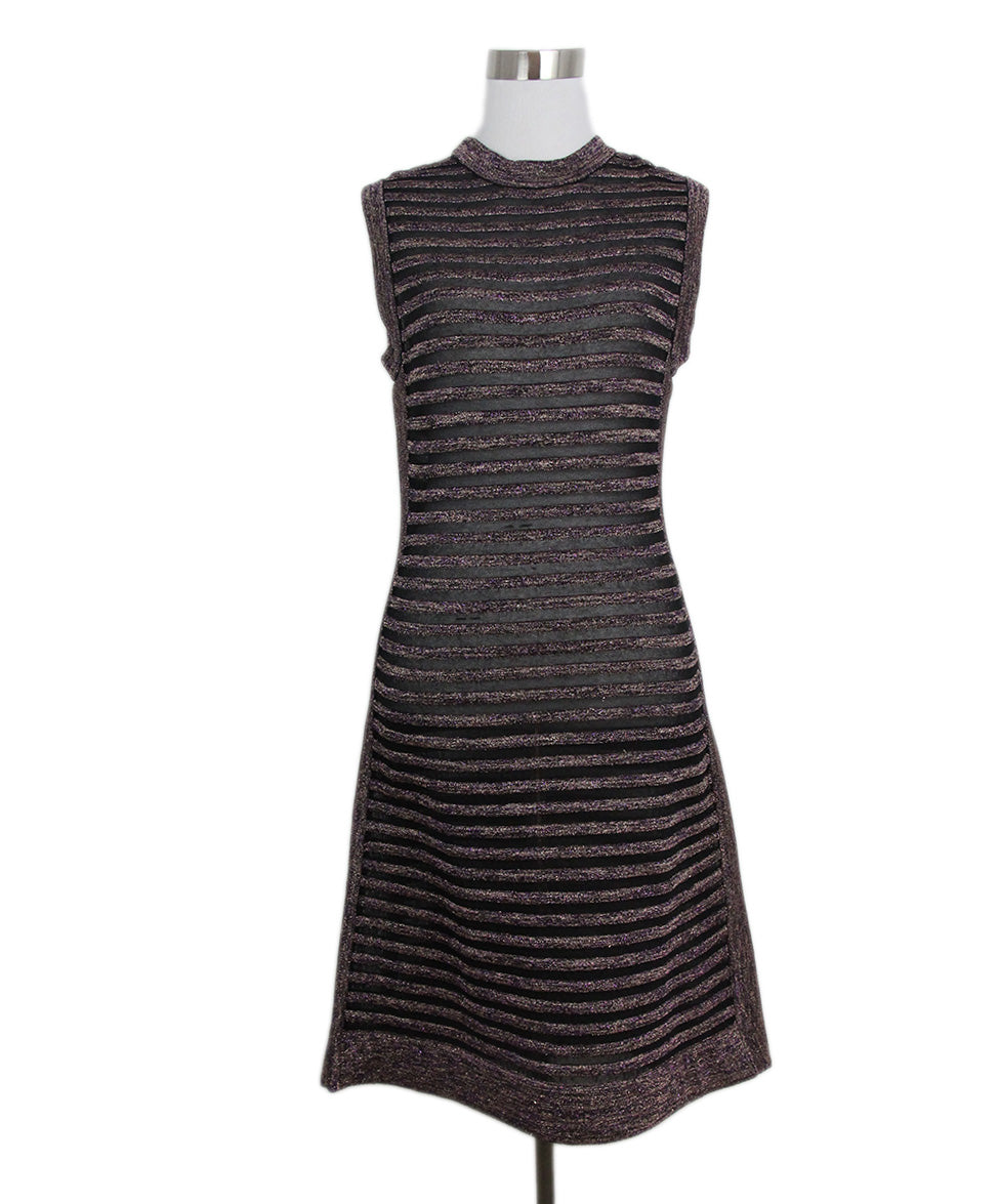 65fc67ea9d0e M Missoni Size 4 Black Purple Stripes Viscose Knit Dress - Michael's ...