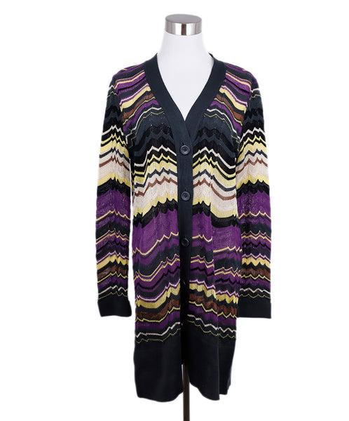 Missoni Purple Yellow Grey Wool Long Sweater 1