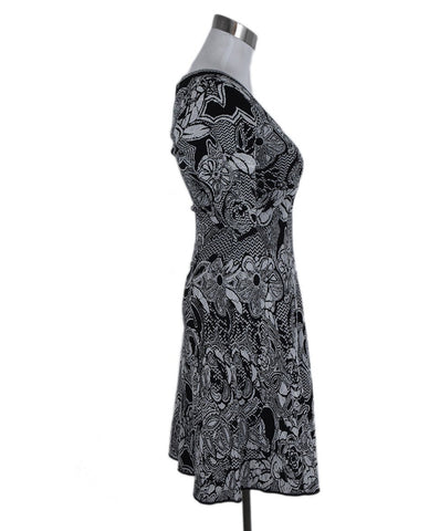 M Missoni Black White Floral Print Cotton Polyamide Dress 1