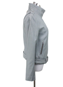 Mackage Pale Blue Leather Zipper Jacket Sz 6