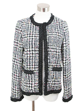 Magaschoni Black White Tweed Jacket with Orange Yellow Pink Accents 1