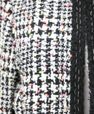 Magaschoni Black White Tweed Jacket with Orange Yellow Pink Accents 5