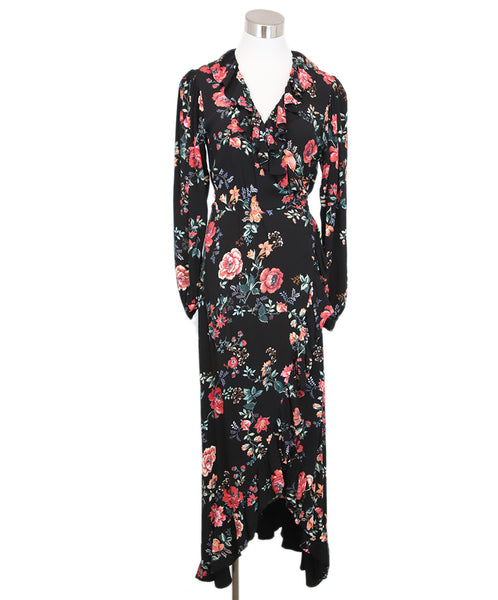 Maje Black Red Floral Viscose Dress 1