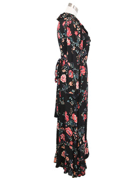 Maje Black Red Floral Viscose Dress 2