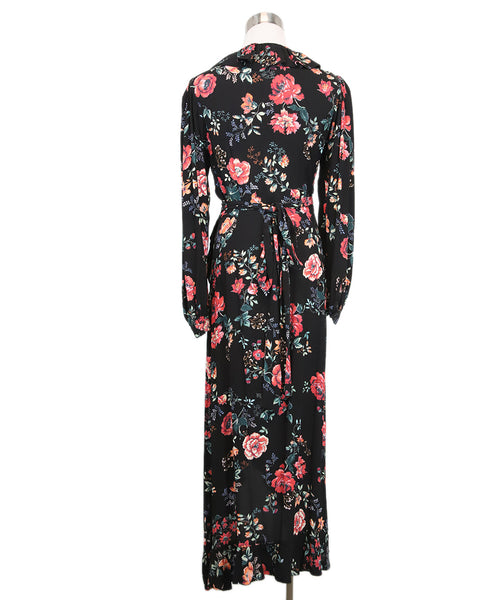 Maje Black Red Floral Viscose Dress 3