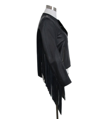 Maje navy leather fringe jacket 1