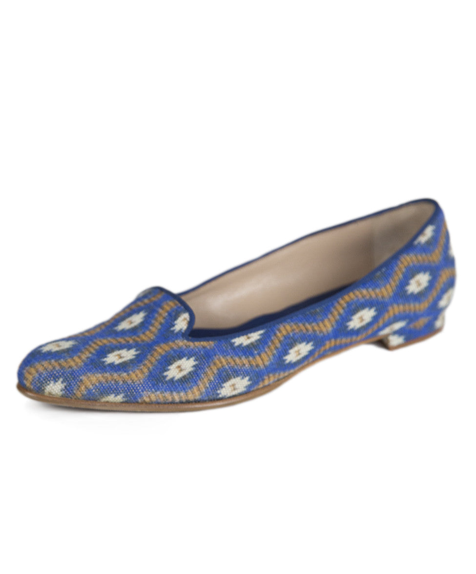 Manolo Blahnik 6 Blue Tan Print Canvas Flats notlisted SHOES - Michael's Consignment NYC  - 1