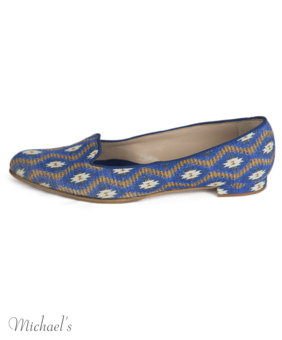 Manolo Blahnik 6 Blue Tan Print Canvas Flats notlisted SHOES - Michael's Consignment NYC  - 2
