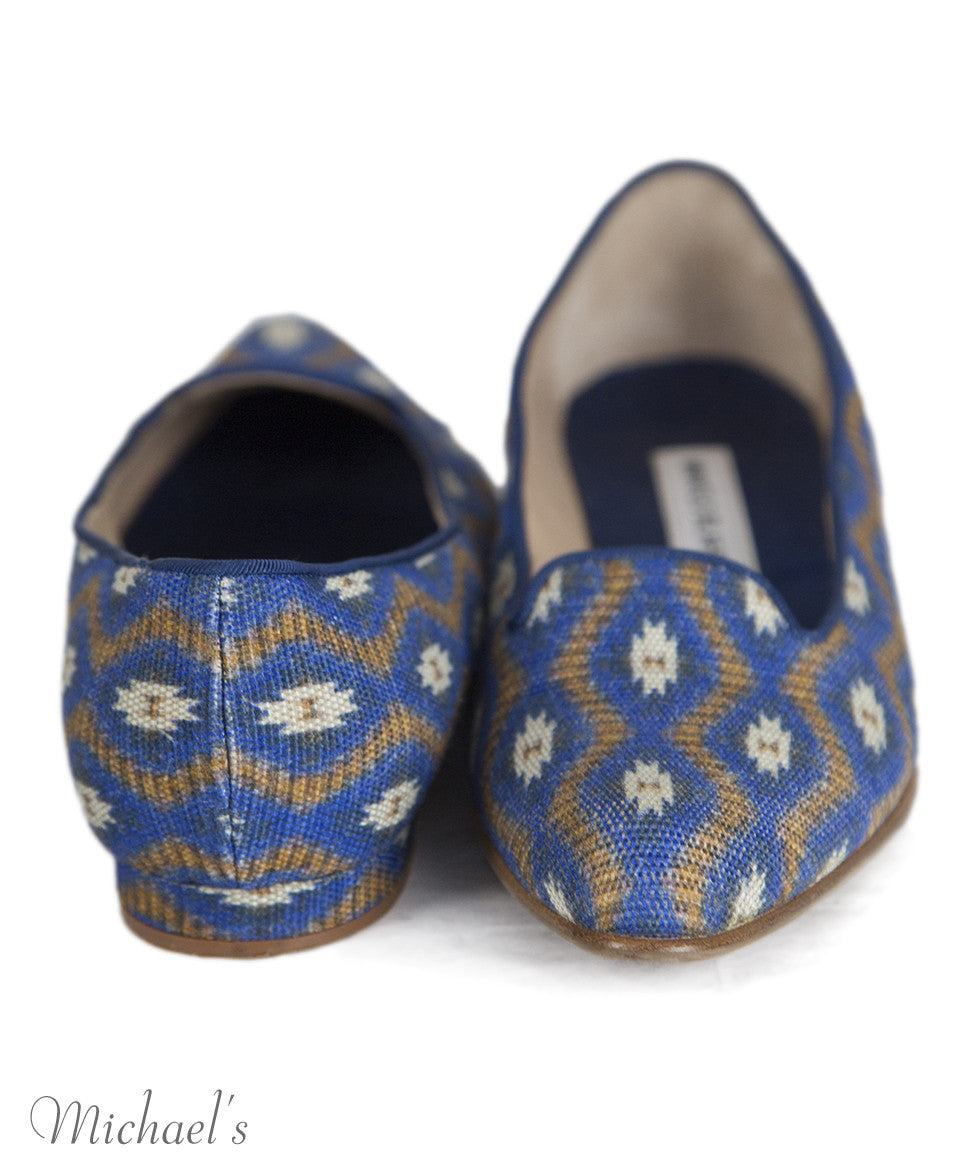 Manolo Blahnik 6 Blue Tan Print Canvas Flats notlisted SHOES - Michael's Consignment NYC  - 4
