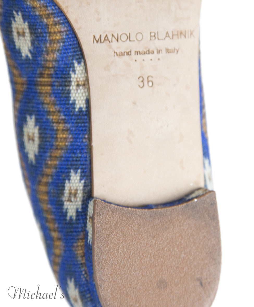Manolo Blahnik 6 Blue Tan Print Canvas Flats notlisted SHOES - Michael's Consignment NYC  - 6