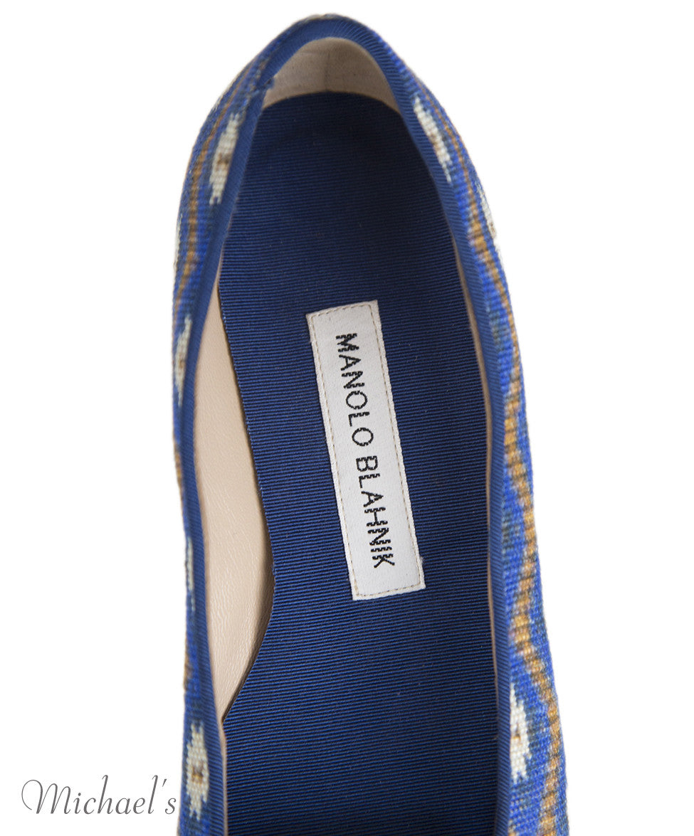 Manolo Blahnik 6 Blue Tan Print Canvas Flats notlisted SHOES - Michael's Consignment NYC  - 7