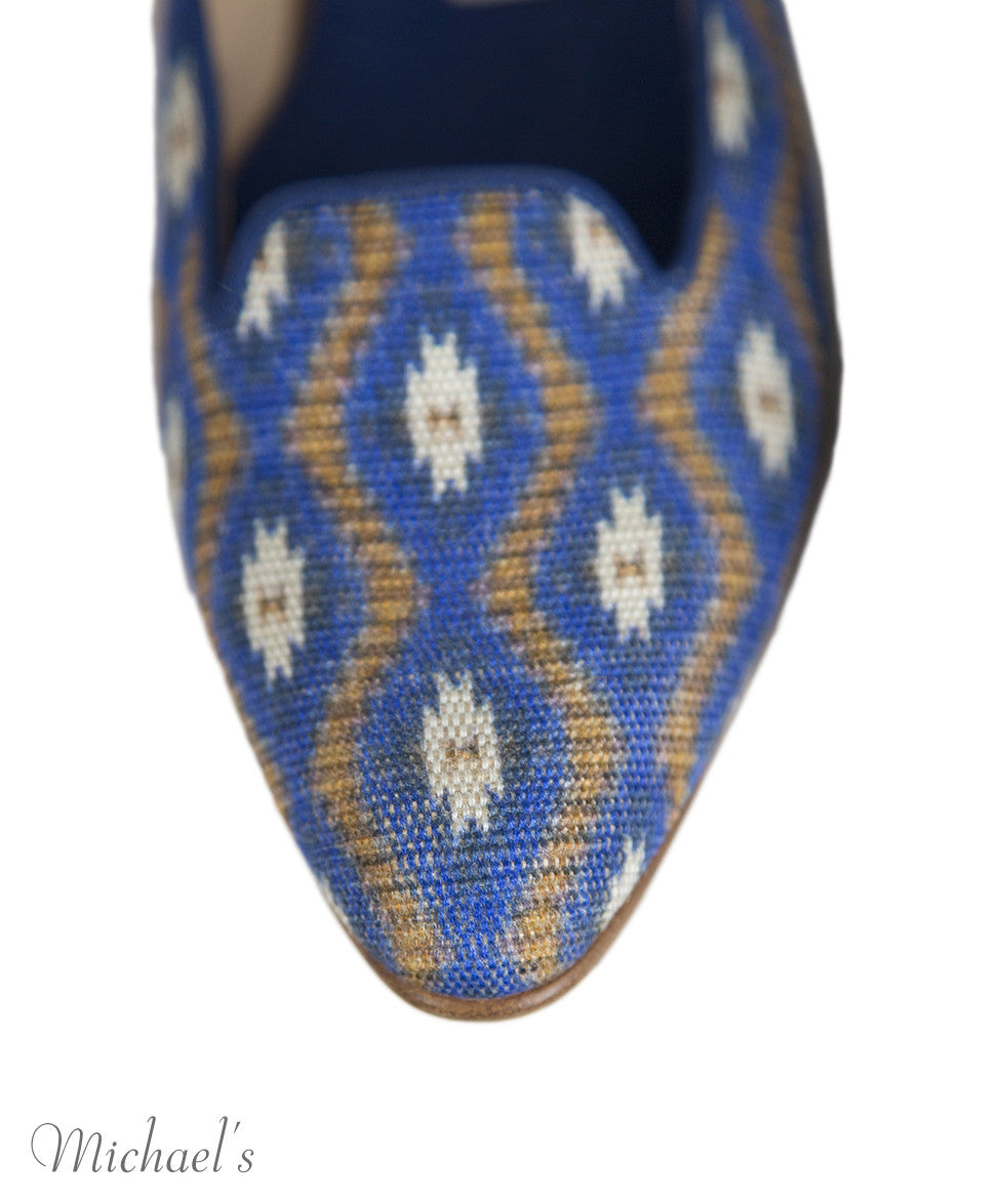 Manolo Blahnik 6 Blue Tan Print Canvas Flats notlisted SHOES - Michael's Consignment NYC  - 8