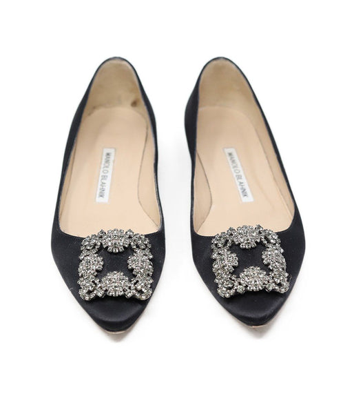 Manolo Blahnik Black Satin Rhinestone Buckle Shoes Flats 2