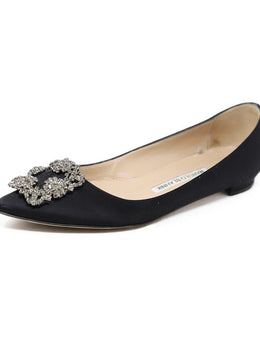 Manolo Blahnik Black Satin Rhinestone Buckle Shoes Flats 1