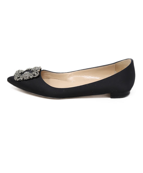 Manolo Blahnik Black Satin Rhinestone Buckle Shoes Flats