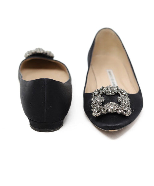 Manolo Blahnik Black Satin Rhinestone Buckle Shoes Flats 3
