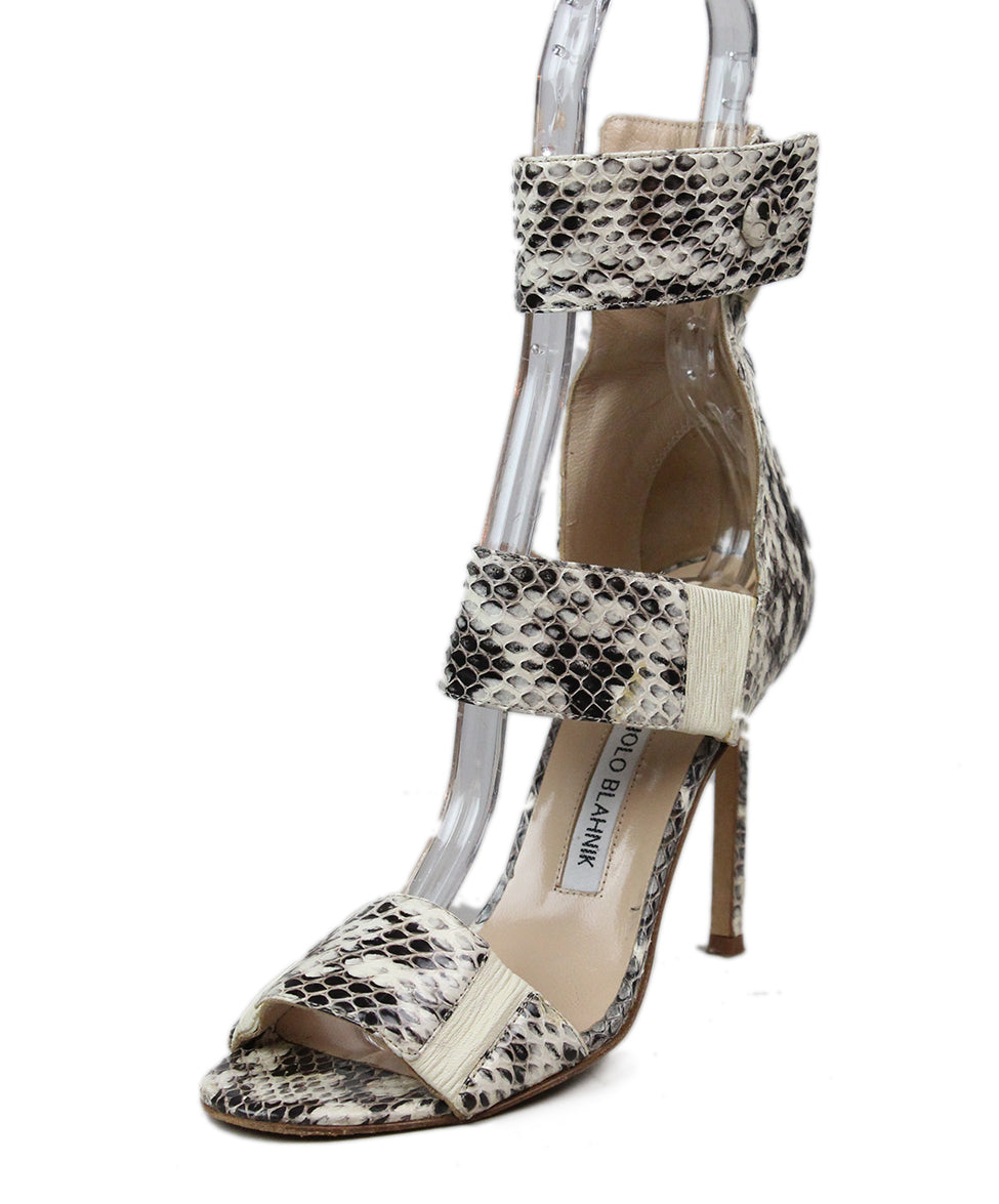 Manolo Blahnik Black Beige Snake Skin Shoes 1