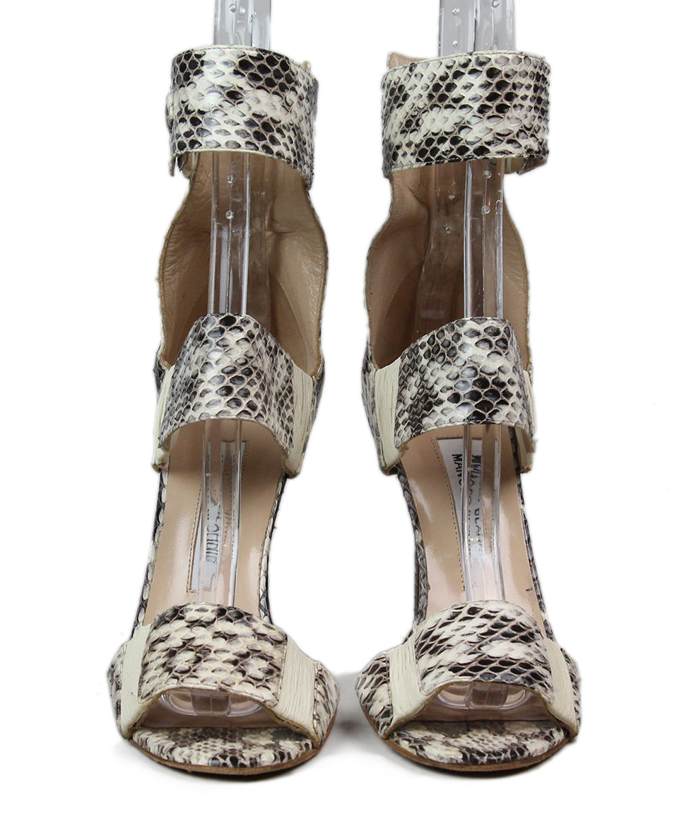 Manolo Blahnik Black Beige Snake Skin Shoes 4