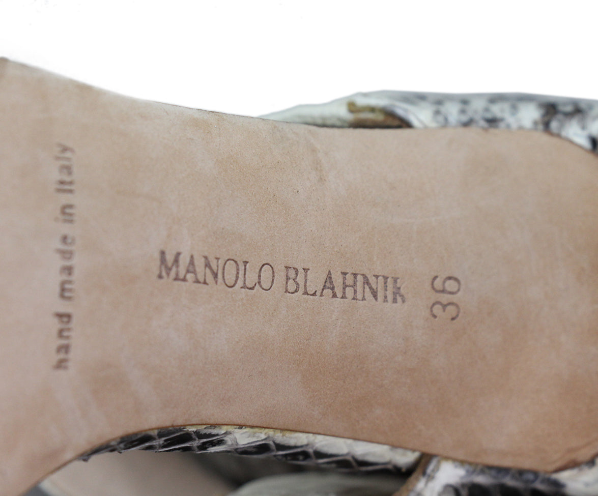 Manolo Blahnik Black Beige Snake Skin Shoes 6