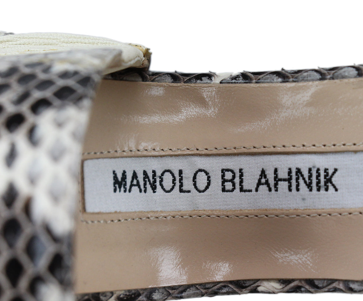Manolo Blahnik Black Beige Snake Skin Shoes 7