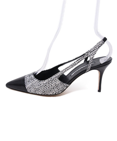 Manolo Blahnik Black Grey Tweed Heels 1