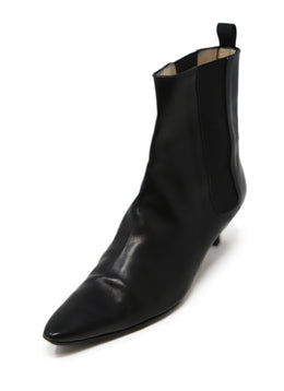 Manolo Blahnik Black Leather Booties 1