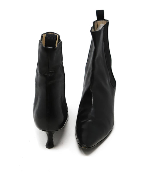Manolo Blahnik Black Leather Booties 3