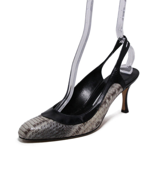 Manolo Blahnik Black Leather Grey Python Heels 1