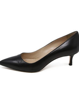Manolo Blahnik Black Leather Heels 2