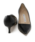 Manolo Blahnik Black Leather Heels 3