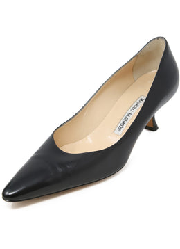 Manolo Blahnik Black Leather Kitten Heels 1