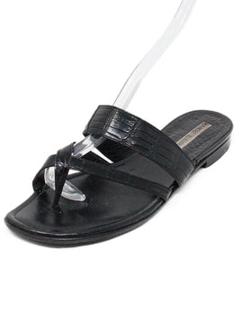 Manolo Blahnik Black Leather Sandals 1