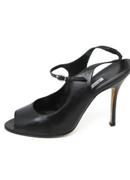 Manolo Blahnik Black Leather Sandals 2