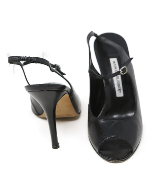 Manolo Blahnik Black Leather Sandals 3